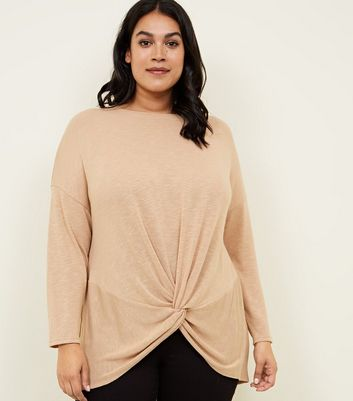 Curves Camel Fine Knit Twist Front Top
