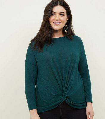 Curves Dark Green Twist Front Fine Knit Top