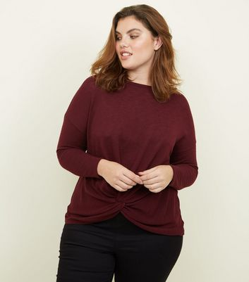 Curves Burgundy Twist Front Fine Knit Top