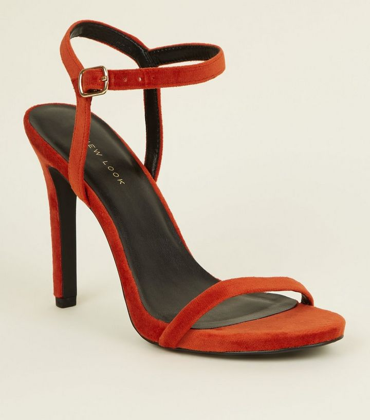 dee8825831f Bright Orange Velvet Stiletto Heel Sandals Add to Saved Items Remove from  Saved Items
