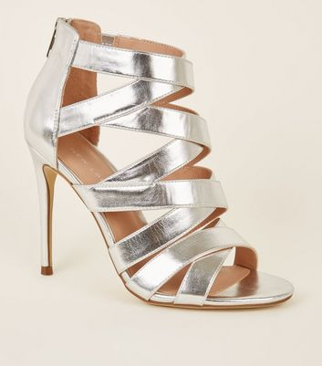 Silver Strappy Stiletto Heel Shoes