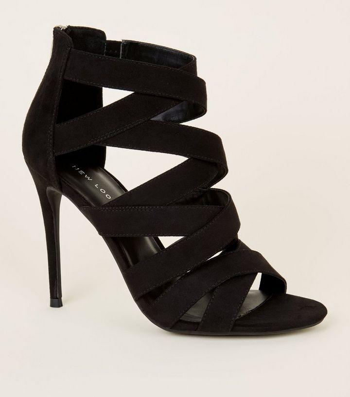 Schwarze High Heels in Wildleder-Optik mit Stiletto-Absatz und ... 04b6a4d9c5