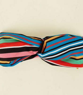 Rainbow Stripe Front Knot Headband