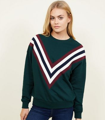 Dark Green Chevron Stripe Front Sweatshirt
