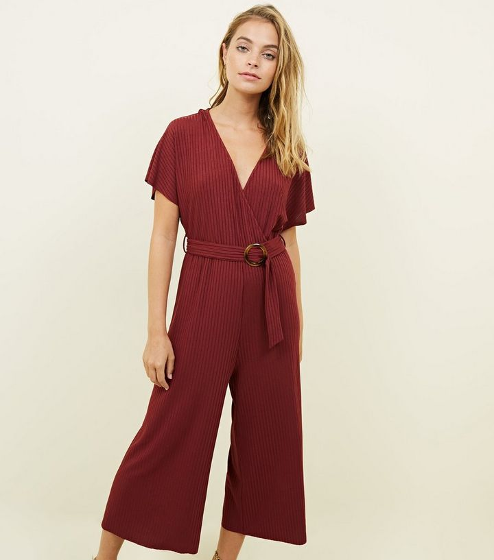 05a215beda Petite Burgundy Wrap Front Resin Ring Belt Jumpsuit