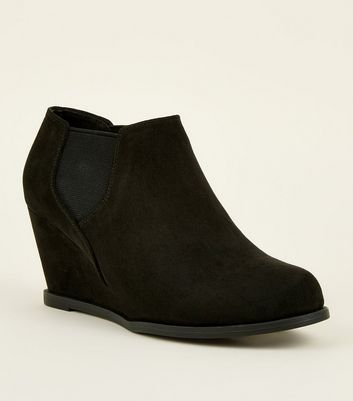 Girls Black Suedette Chelsea Wedge Shoe Boots
