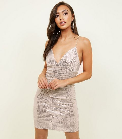 pink v neck sequin fabric bodycon dress - Christmas Party Dresses