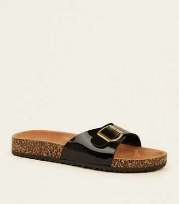 Black Leather Lined Footbed Sandals