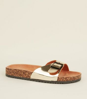Gold Leather Lined Footbed Sandals
