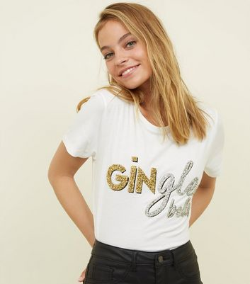 Petite Off White Gingle Bells Glitter Slogan T-Shirt
