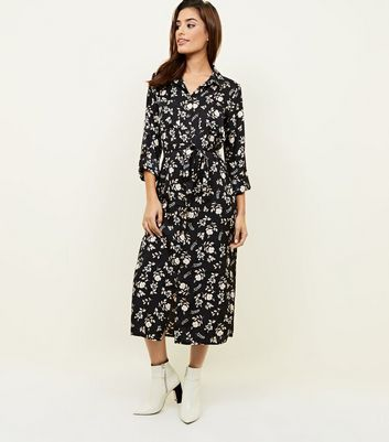 Black Floral Twill Long Sleeve Midi Shirt Dress