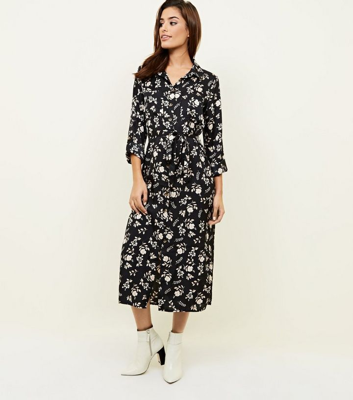 1d54ab157cee Black Floral Twill Long Sleeve Midi Shirt Dress