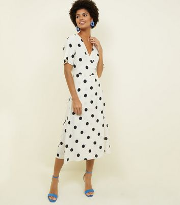 White Spot Print Wrap Front Midi Dress