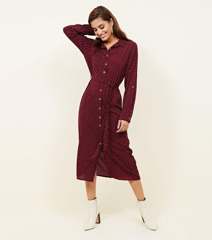 cef9376d1a4 Red Heart Print Long Sleeve Midi Shirt Dress
