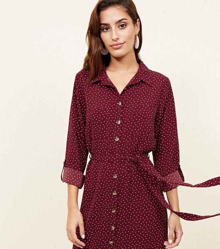 0643b890ea3 ... Red Heart Print Long Sleeve Midi Shirt Dress. ×. ×. ×. Shop the look