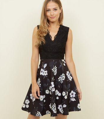 Mela Black Floral Lace Bodice Skater Dress New Look