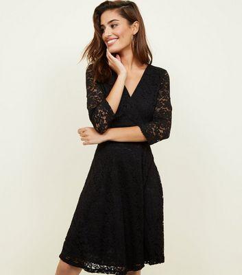 Mela Black Lace 3/4 Sleeve Wrap Dress New Look