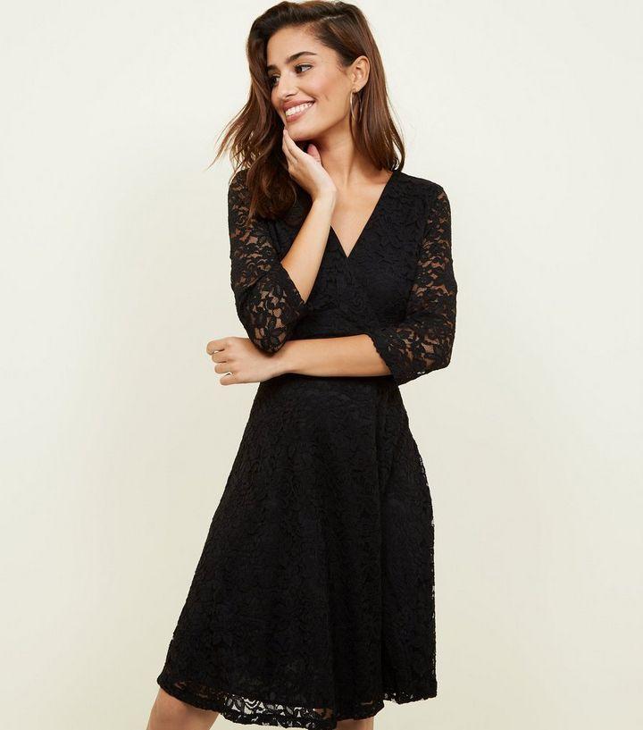 e8f188072 Mela Black Lace 3 4 Sleeve Wrap Dress