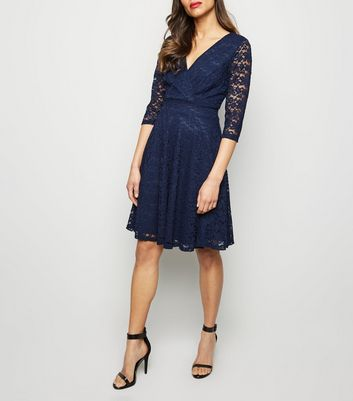 Mela Navy Lace 3/4 Sleeve Wrap Dress