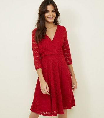 Mela Red Lace 3/4 Sleeve Wrap Dress