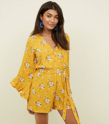 Yellow Floral Ruffle Long Sleeve Playsuit