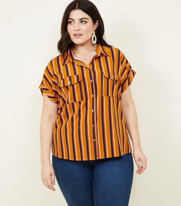 Curves Brown Stripe Short Sleeve Shirt