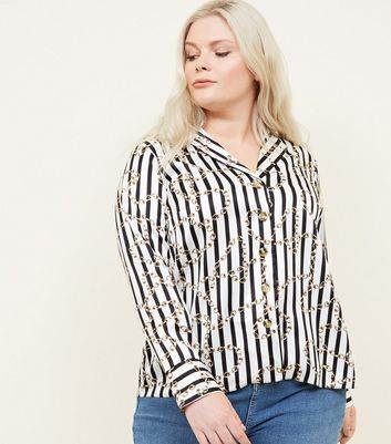 Curves Black Chain Print Satin Shirt