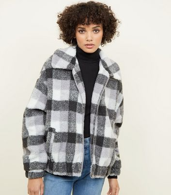 White Check Faux Teddy Fur Jacket