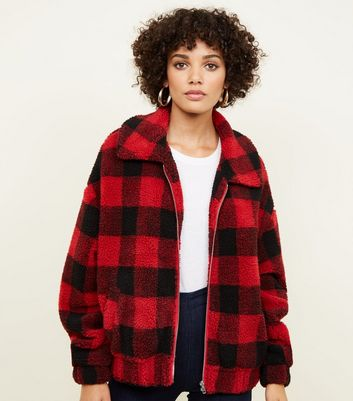 Red Check Teddy Bomber Jacket