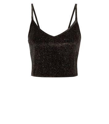 Cameo Rose Black Glitter Velvet Cami New Look