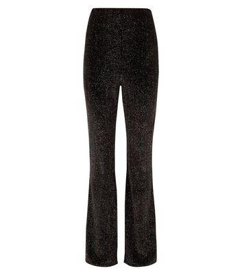 Cameo Rose Black Glitter Velvet Trousers New Look