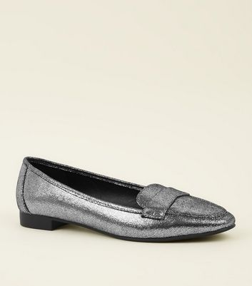 Wide Fit Silver Cracked Metallic Loafers