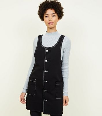 Black Contrast Stitch Denim Pinafore Dress