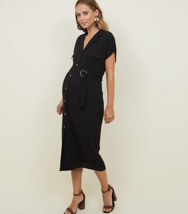 203c77866624 Maternity Black Circle Buckle Midi Shirt Dress   New Look