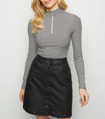 Tall Black Button Front Coated Denim Skirt