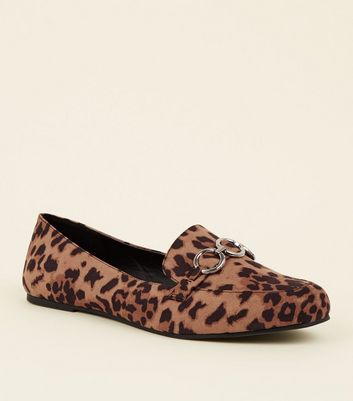 Wide Fit Tan Leopard Print Ring Front Loafers