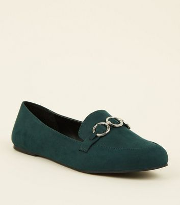 Wide Fit Dark Green Suedette Ring Front Loafers