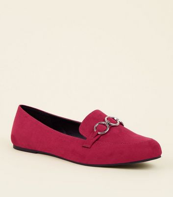 Wide Fit Bright Pink Suedette Ring Front Loafers