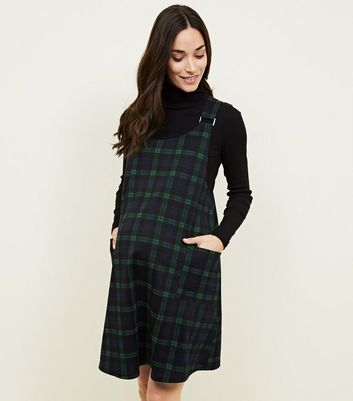 Maternity Black Check Print Buckle Front Pinafore Dress