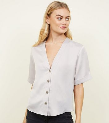Tall Silver Satin Button Front Shirt