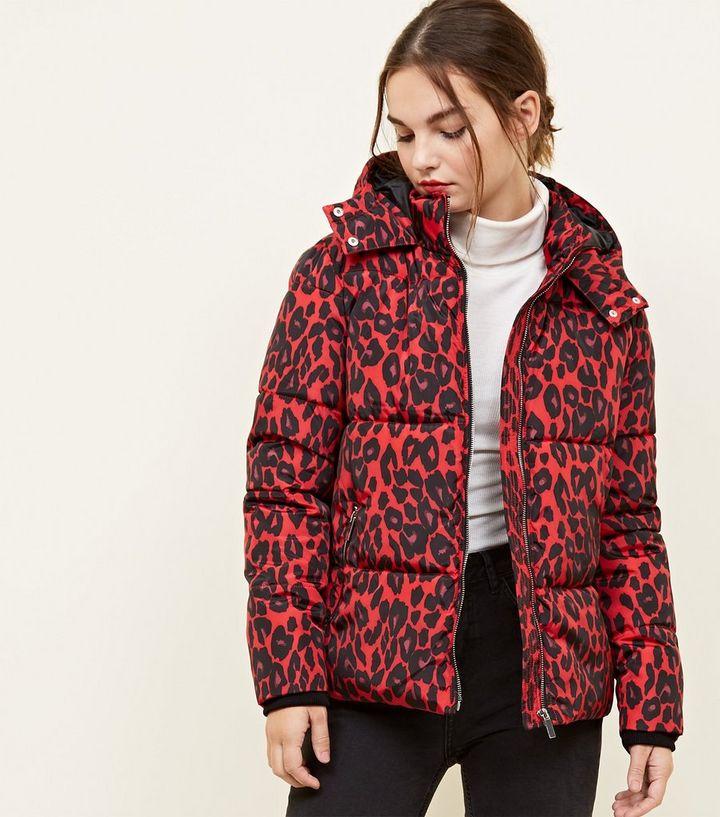 f3f5a281a07a Petite Red Leopard Print Puffer Jacket