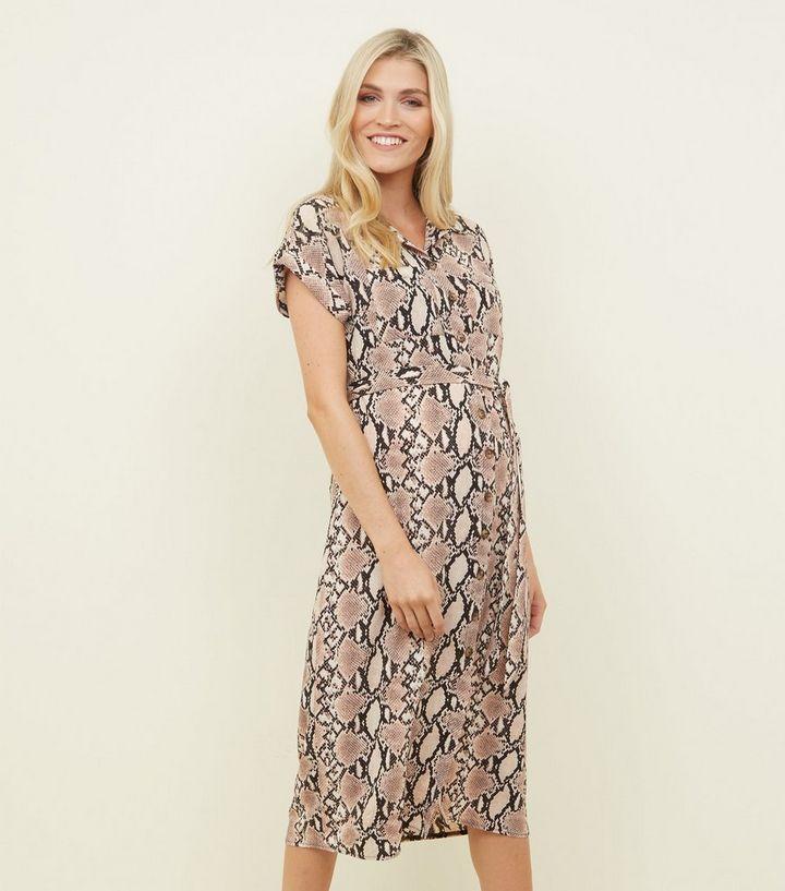 Maternity Camel Snake Print Midi Shirt Dress  d7a8716b477