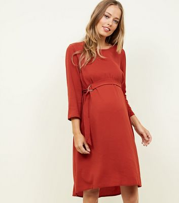 Maternity Orange Crepe Belted Dip Hem Tunic Dress