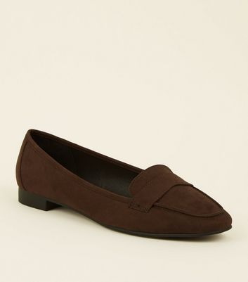 Wide Fit Dark Brown Suedette Square Toe Loafers