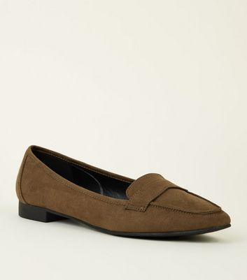 Wide Fit Khaki Suedette Square Toe Loafers