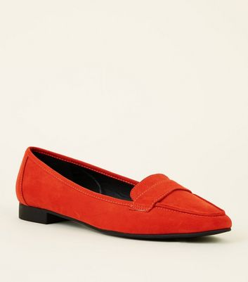 Wide Fit Orange Suedette Square Toe Loafers