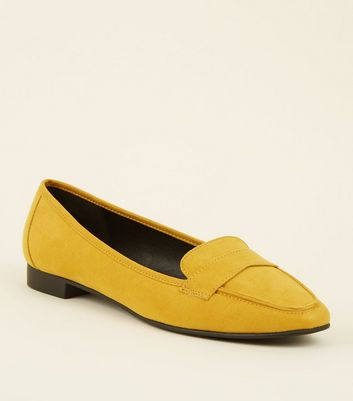 Wide Fit Mustard Suedette Square Toe Loafers