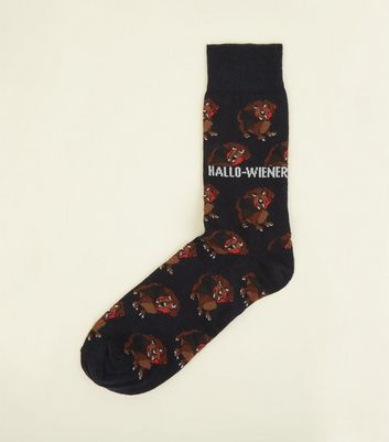 Navy Hallo-Wiener Dog Slogan Socks