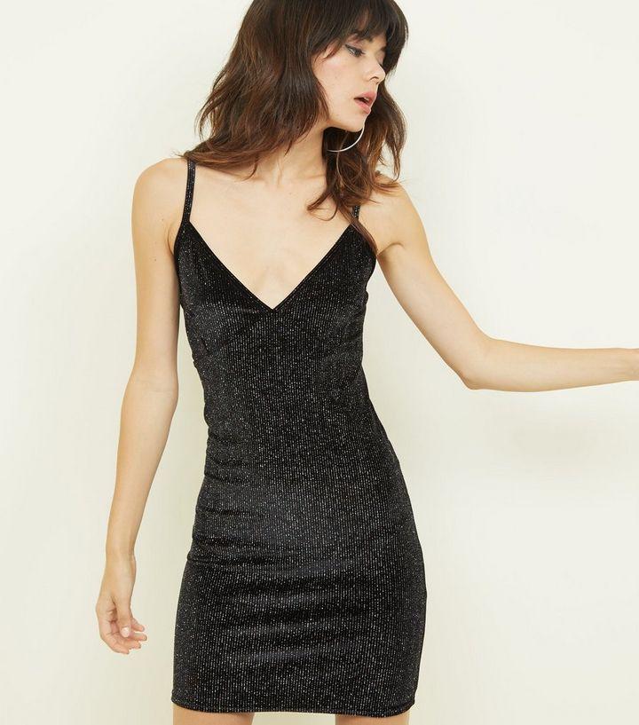 f6aaf3e349dc Cameo Rose Black Glitter Velvet Dress | New Look