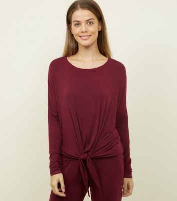 Burgundy Drop Needle Tie Front Pyjama Sweatshirt